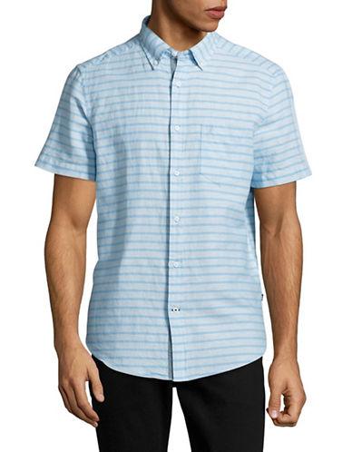 Nautica Linen-Blend Striped Sport Shirt-BLUE-Large