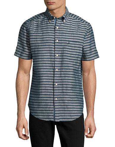 Nautica Linen-Blend Striped Sport Shirt-DARK BLUE-Medium