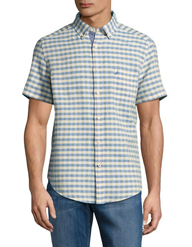 Nautica Short Sleeve Check Linen-Cotton Shirt-BEIGE-Medium