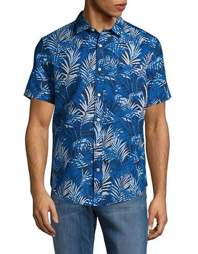 Nautica Linen-Blend Palms Sport Shirt-BLUE-Medium