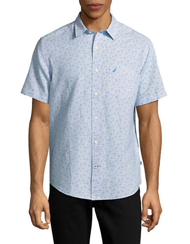 Nautica Wavy Print Linen Blend Sport Shirt-BLUE-Medium