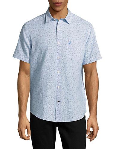 Nautica Wavy Print Linen Blend Sport Shirt-BLUE-X-Large