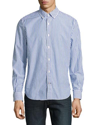 Nautica Classic Fit Striped Sport Shirt-COBALT-Large