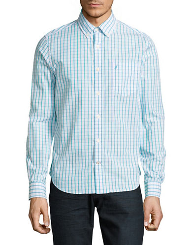 Nautica Slim Fit Tattersall Sport Shirt-BLUE-Large