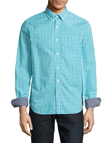 Nautica Classic Fit Gingham Sport Shirt-BLUE-Large