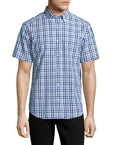 Nautica Short Sleeve Check Sport Shirt-COBALT-Medium