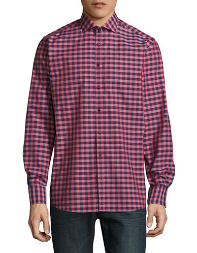 Bruun And Stengade Long Sleeve Modern Omrani Check Shirt-RED-EU 44/US X-Large