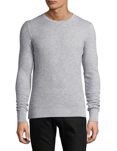 Bruun And Stengade Textured Cotton Crew Neck Sweater-GREY-Large 88946089_GREY_Large
