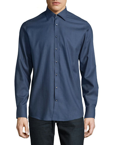 Bruun And Stengade Modern-Fit Patterned Sport Shirt-BLUE-EU 44/US X-Large