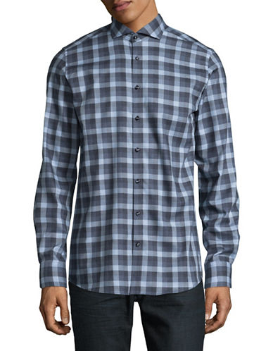 Bruun And Stengade Niguez Modern-Fit Easy-Care Check Shirt-BLUE-EU 44/US X-Large