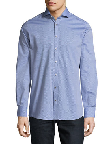 Bruun And Stengade Roco Modern-Fit Dotted Sport Shirt-BLUE-EU 42/US Large