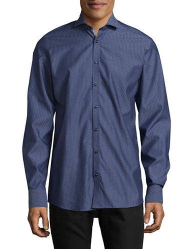 Bruun And Stengade Pin Dot Sport Shirt-BLUE-EU 42/US Large