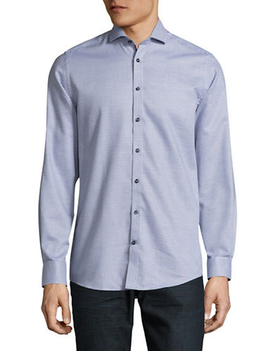Bruun And Stengade Sakala Modern-Fit Check Sport Shirt-BLUE-EU 42/US Large