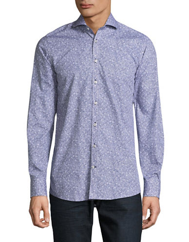 Bruun And Stengade Modern-Fit Printed Easy-Care Sport Shirt-NAVY-EU 38/US Small