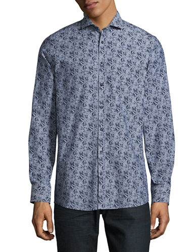 Bruun And Stengade Long Sleeve Spread Collar Floral Shirt-BLUE-EU 42/US Large