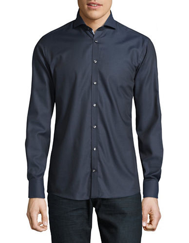 Bruun And Stengade Chester Slim-Fit Solid Shirt-NAVY-EU 40/US Medium