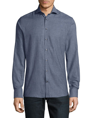 Bruun And Stengade Slim-Fit Easy-Care Oscar Check Shirt-NAVY-EU 44/US X-Large