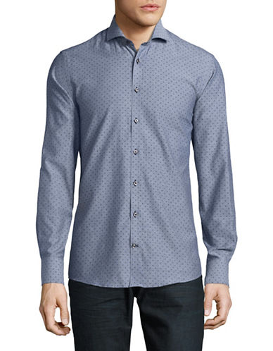 Bruun And Stengade Dotted Easy-Care Slim-Fit Shirt-NAVY-EU 42/US Large