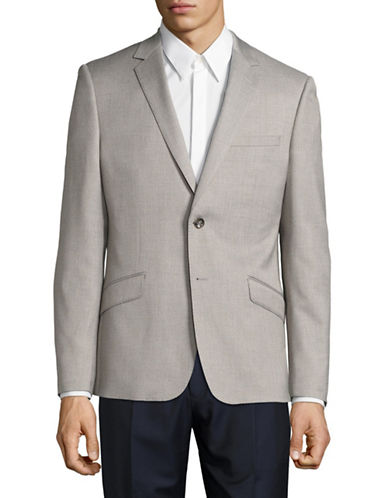 Sondergaard Sharkskin Suit Jacket-GREY-40 Tall