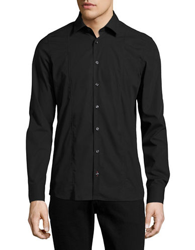Pure Slim Fit Seamed Stretch Shirt-BLACK-X-Large