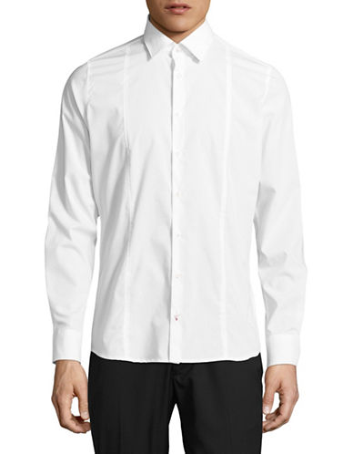 Pure Slim Fit Seamed Stretch Shirt-WHITE-XX-Large