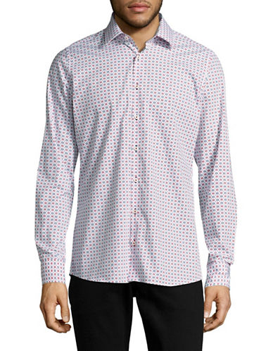 Pure Long Sleeve Slim Fit Floral Shirt-WHITE-X-Large