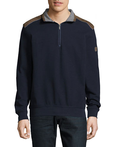 Bugatti Knit Faux Suede Pullover-NAVY-X-Large