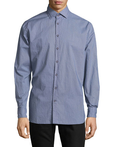 Bugatti Geometric Cotton Sport Shirt-BLUE-Medium