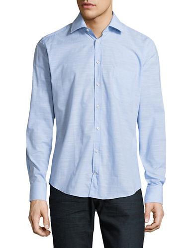 Bugatti Space Dye Long Sleeve Shirt-BLUE-Medium