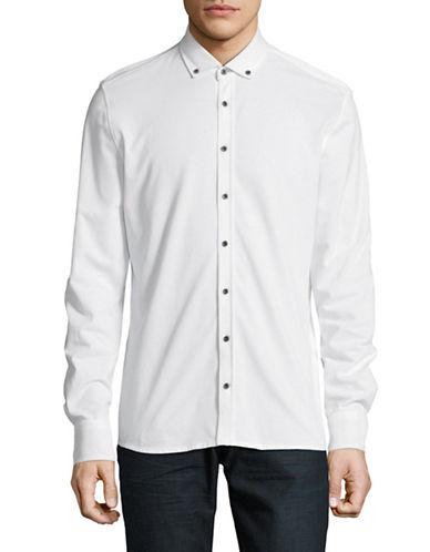 Bugatti Classic Cotton Sport Shirt-WHITE-Medium