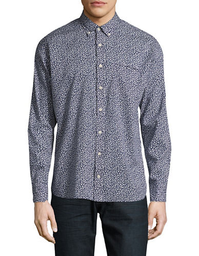 Bugatti Printed Cotton Sport Shirt-BLUE-Medium