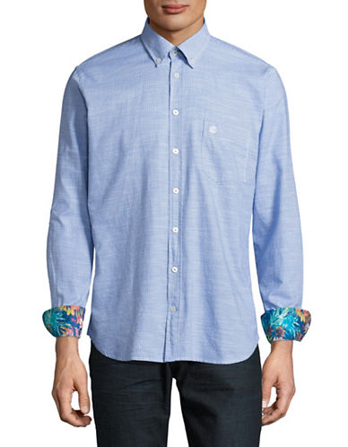 Bugatti Modern-Fit Gingham Sport Shirt-BLUE-X-Large