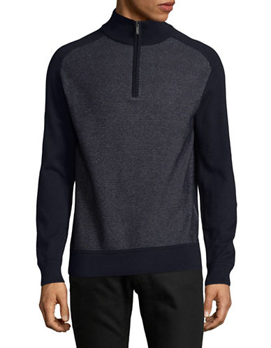 Bugatti Quarter Zip Sweater-BLUE-Large