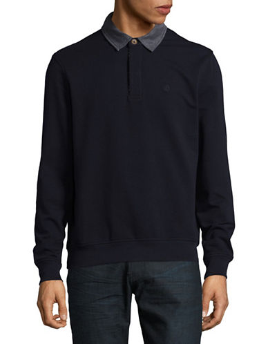 Bugatti Long Sleeve Polo-BLUE-Small