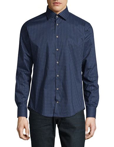 Bugatti Easy Care Modern Fit Circle Print Sport Shirt-BLUE-Large