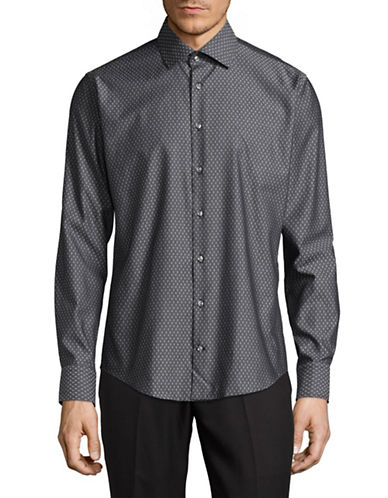 Bugatti Easy Care Modern Fit Diamond Print Sport Shirt-GREY-Large