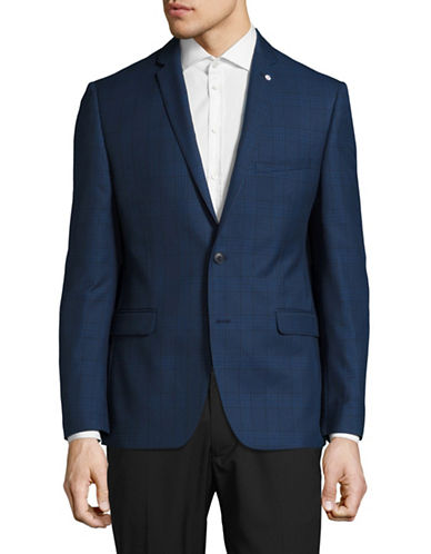 Lambretta Slim-Fit Plaid Suit Jacket-BLUE-42 Regular