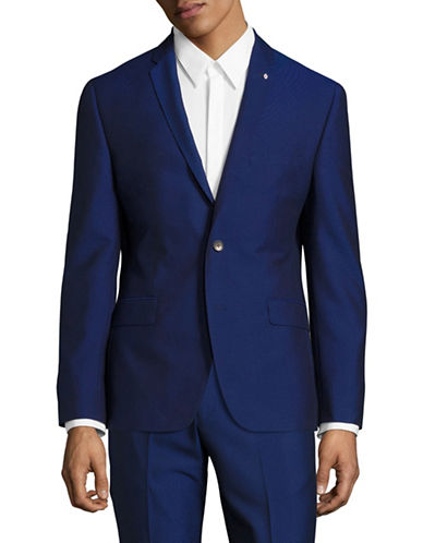 Lambretta Slim-Fit Solid Suit Jacket-BLUE-36 Regular