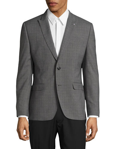 Lambretta Slim-Fit Textured Suit Jacket-GREY-42 Tall