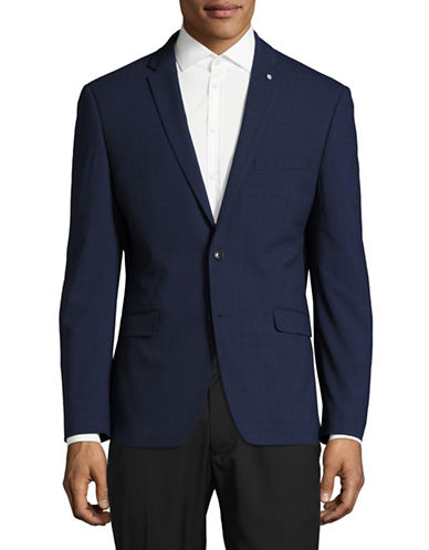 Lambretta Slim-Fit Plaid Suit Jacket-BLUE-38 Short