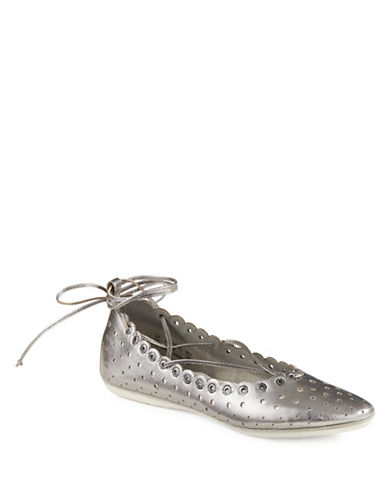 Bugatti Lina Laser-Cut Leather Ballet Flats-SILVER-EUR 38/US 8
