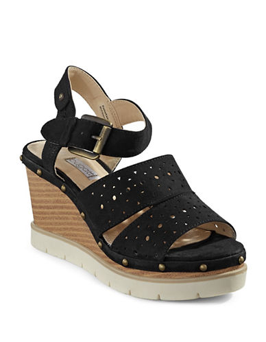 Bugatti Aura Studded Cut-Out Wedges-BLACK-EUR 40/US 10