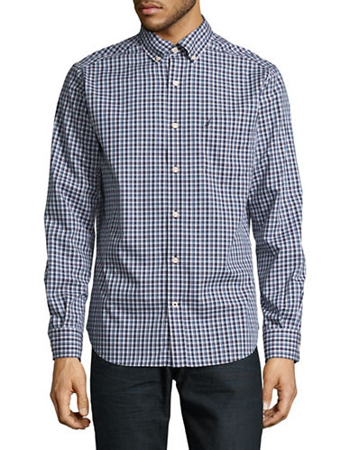 Nautica Poplin Plaid Sport Shirt-BLUE-Large