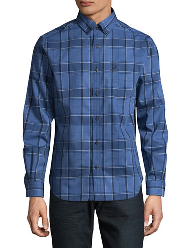 Nautica Poplin Plaid Sport Shirt-BLUE-Medium