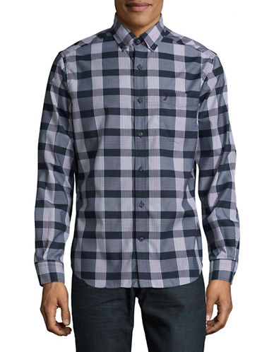 Nautica Poplin Plaid Sport Shirt-MARTIME NAVY-Large