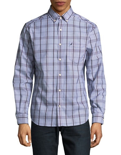 Nautica Dobby Plaid Sport Shirt-BLUE-X-Large