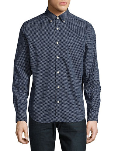 Nautica Classic-Fit Printed Sport Shirt-BLUE-Medium