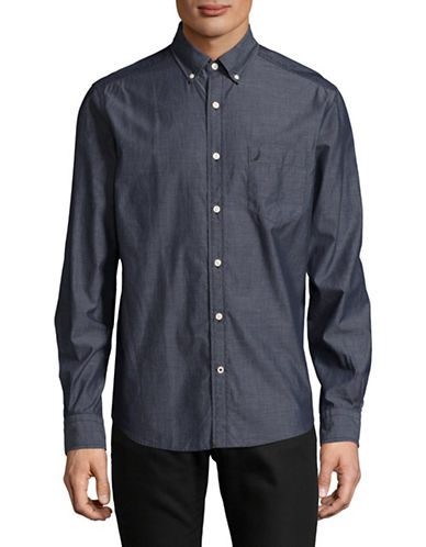 Nautica Solid Sport Shirt-NAVY-Large