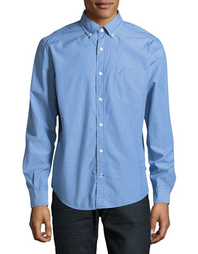 Nautica Solid Sport Shirt-BLUE-Medium