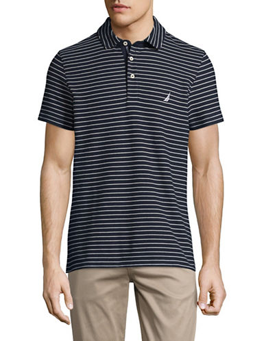 Nautica Slim-Fit Striped Performance Deck Shirt-NAVY-X-Large